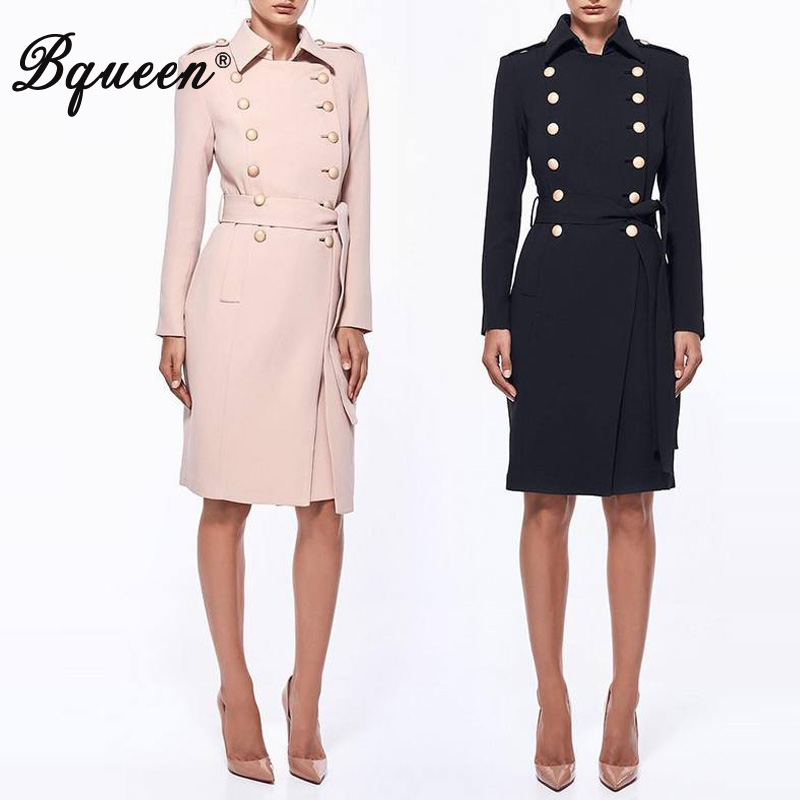 Bqueen Elegant Solid Women Autumn   Trench   Turn Down Collar Double Breasted Full Sleeve Lady Coat Fashion Women Outwear   Trench
