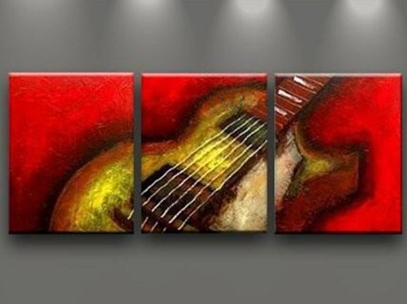 Hand Painted Abstract Guitar Red Oil Paintings On Canvas