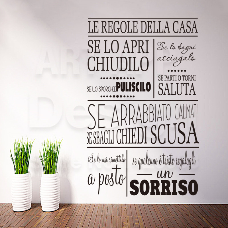 Art Design Cheap Vinyl Home Decoration Italian Rules Words