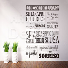 Art design cheap vinyl home decoration Italian rules words wall sticker removable house decor characters quote decals in rooms