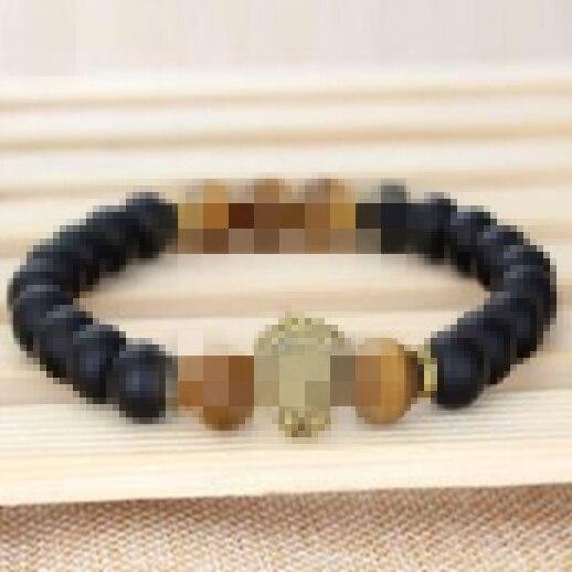 Prix pour B007 naturel noir perles lion bracelet homme bijoux