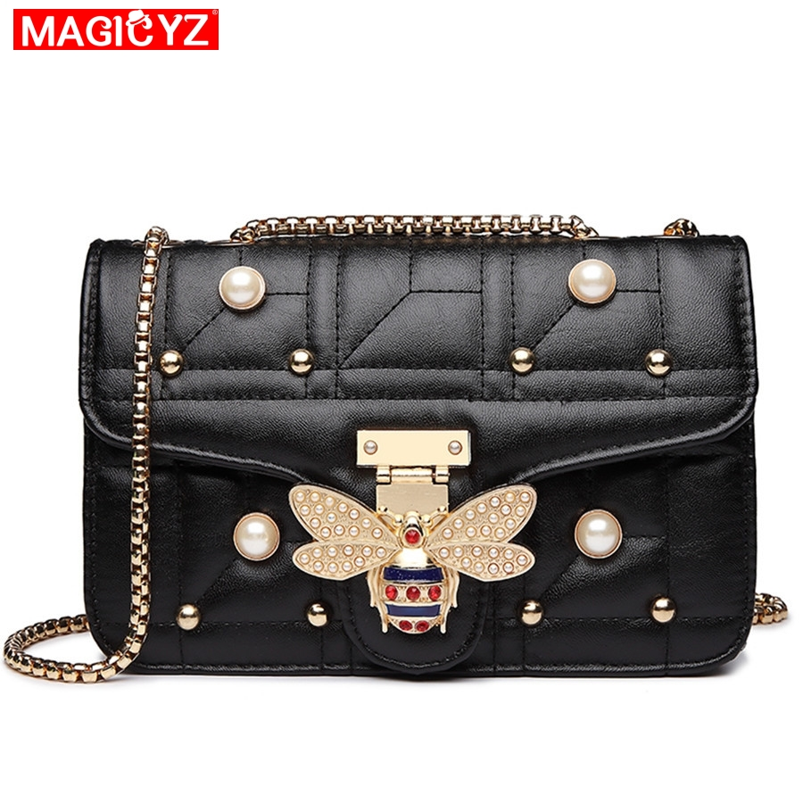 fbf0349e9dc MAGICYZ Luxury Diamond Design Women Handbag Fashion Bee Pearl Shoulder Bag  Brand Leather Clutch Purse Female Sac A Main blosa