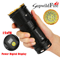 Supwildfire Bike Bicycle Light Flashlight 50000LM 15 x XM L T6 LED Power & Mode Digital Display Hunting Flashlight A1