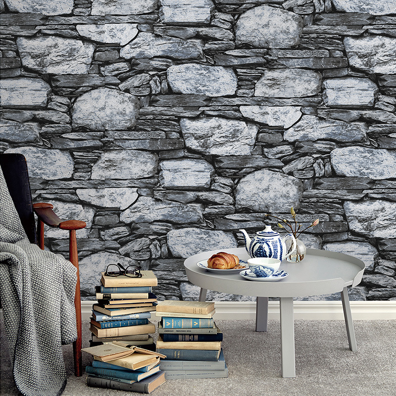 beibehang Antique stone brick wallpaper Chinese nostalgia restaurant TV backdrop Living room bedroom background 3d wallpaper book knowledge power channel creative 3d large mural wallpaper 3d bedroom living room tv backdrop painting wallpaper
