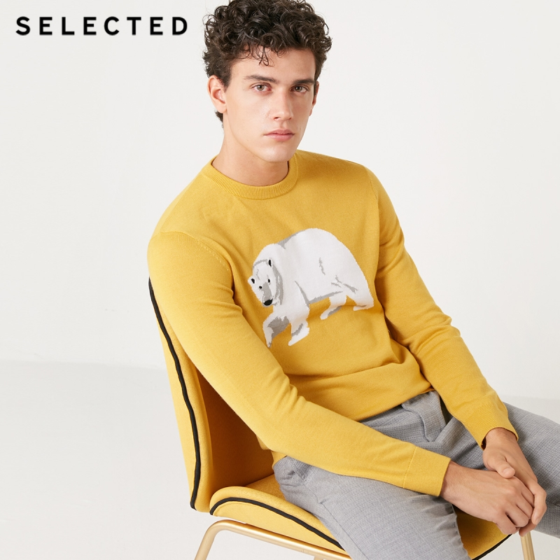SELECTED Knitted Sweater Round-Neckline Animal-Pattern Men's Long-Sleeved Wool-Blend