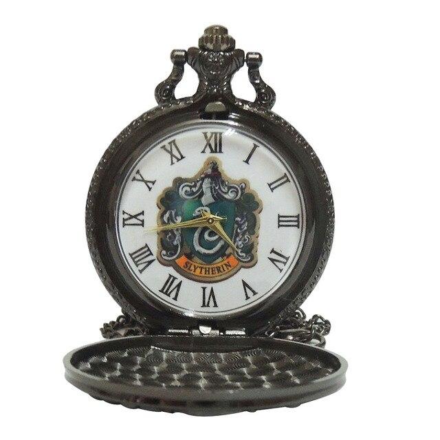 Silver Grey Color Dial Slytherin Harry Potter Hogwarts College Quartz Pocket Wat