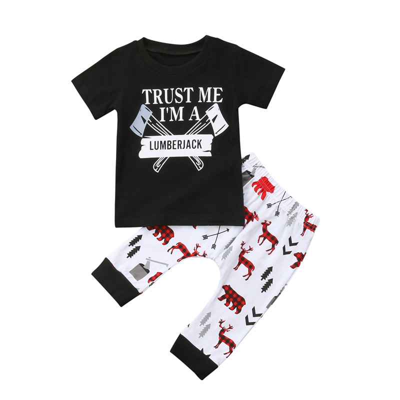 881707dcf 2pcs Kids Baby Boy Outfits Casual Axe Letter T-shirt Tops +Deer Long Pants  Leggings Clothes Set Short Sleeve Cotton Clothing