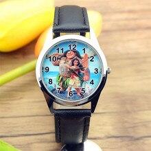 Бесплатная доставка Новые Модные Моана лицо Женщины Повседневная Круглый циферблат Кварцевые часы подростков стильная футболка с изображением персонажей видеоигр подарок Relogio Relojes