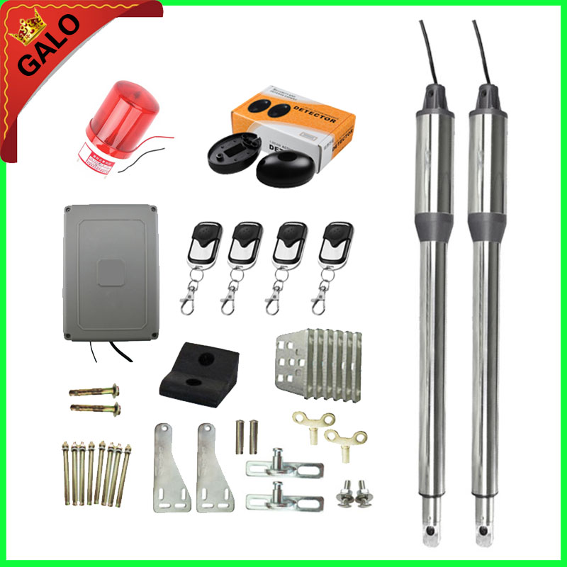 Automatic Gate Opener swing Dual Swing Gate Motor Kit Gate Motors with 4 remote controls 1 pair of Infrared beam1 flash lamp galo 300 kg double arms swing gate opener door motor kit with 1 pair of photocells 1 alarm light