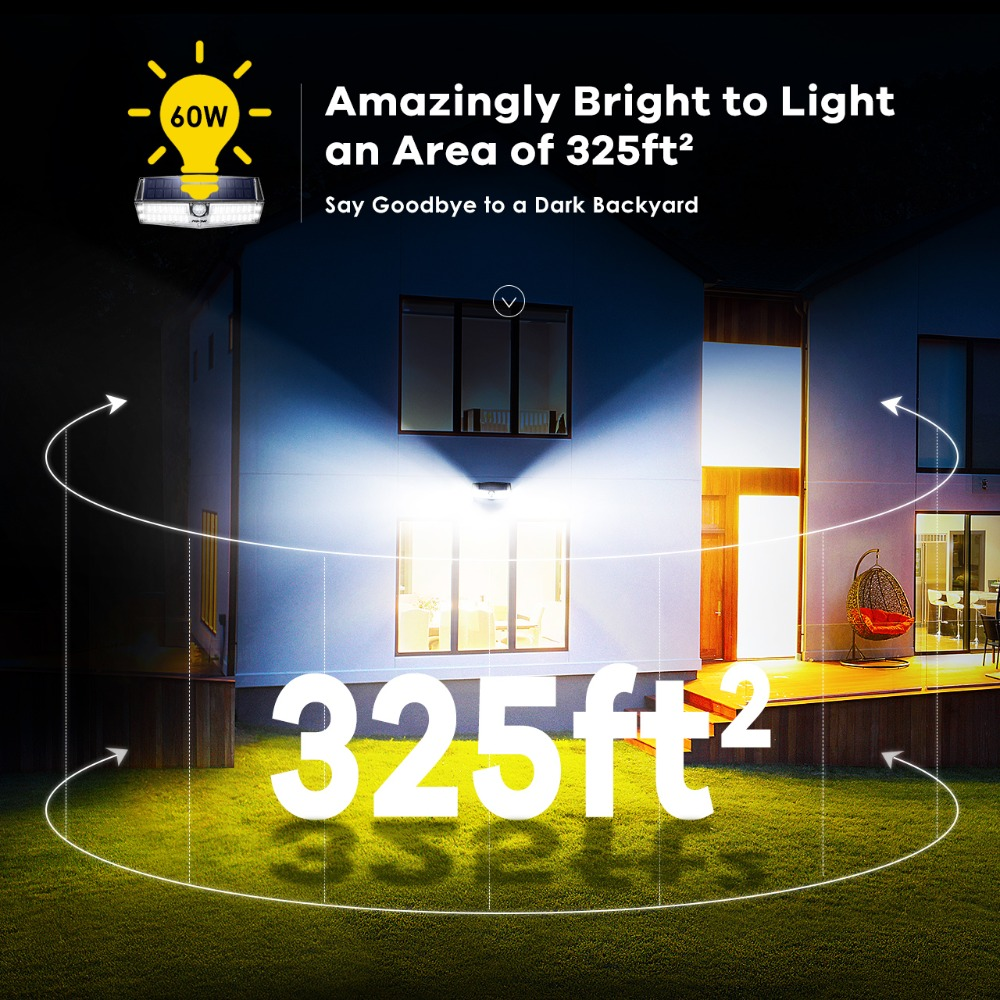 2 Pack MPOW 66 LED Motion Sensor Solar Lights 3 Lighting Modes Powerful IP66 Waterproof Wall Lamps Luz Solar Led Para Exterior