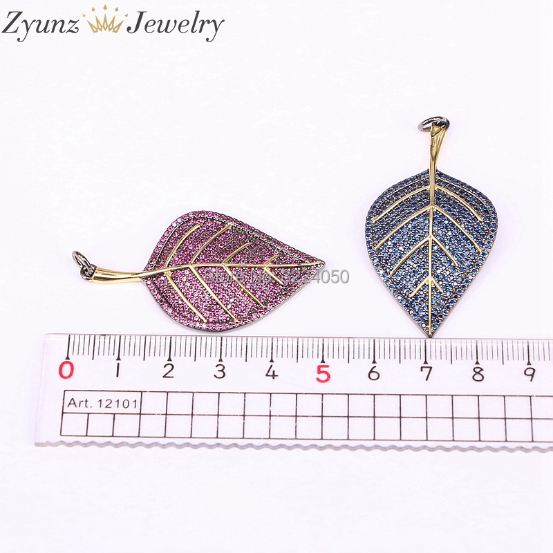 5PCS High Quality Fashion Jewelry Full CZ Zircon Leaf / Leaves Necklace Pandant For Women