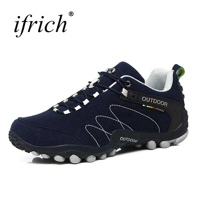 low priced 47b34 42047 2019 Autumn Winter Hiking Shoes Men Waterproof Boots Mountain Shoes Men  Leather Sport Sneakers Blue Black Gray Trekking Boots