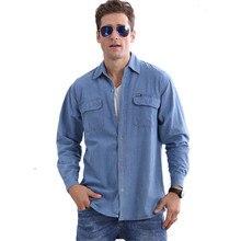 Мужские джинсовые рубашки размера плюс с длинным рукавом 4Xl, свободные однобортные мужские летние тонкие дышащие рубашки, синяя Повседневная рубашка для мужчин A3604