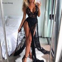Trancilong Sexy Perspective Lace High Slit Deep V-neck Elegant Summer Women's Halter Sleeveless Nightclub Long Dress