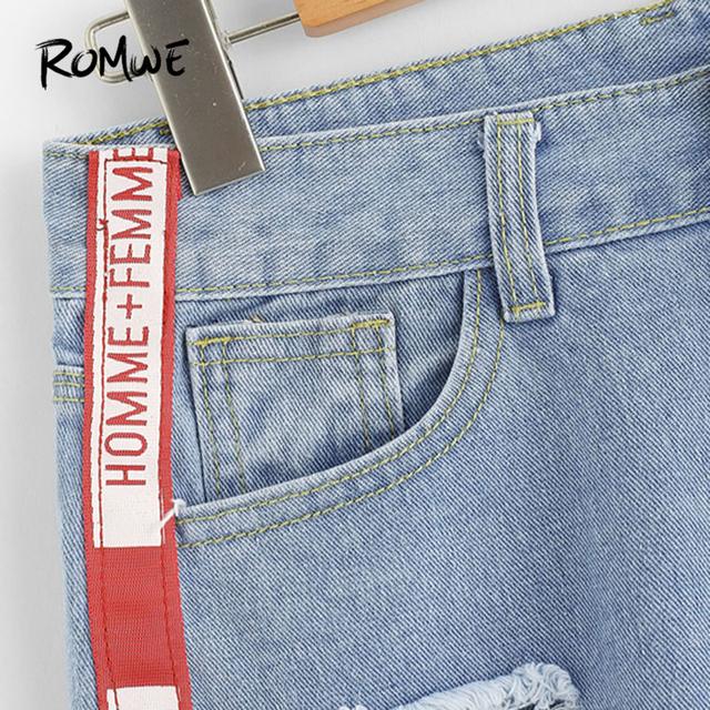 ROMWE 2018 New Arrival Frayed Hem Ripped Denim Shorts Blue Button Fly Mid Waist Shorts Summer Women Clothing