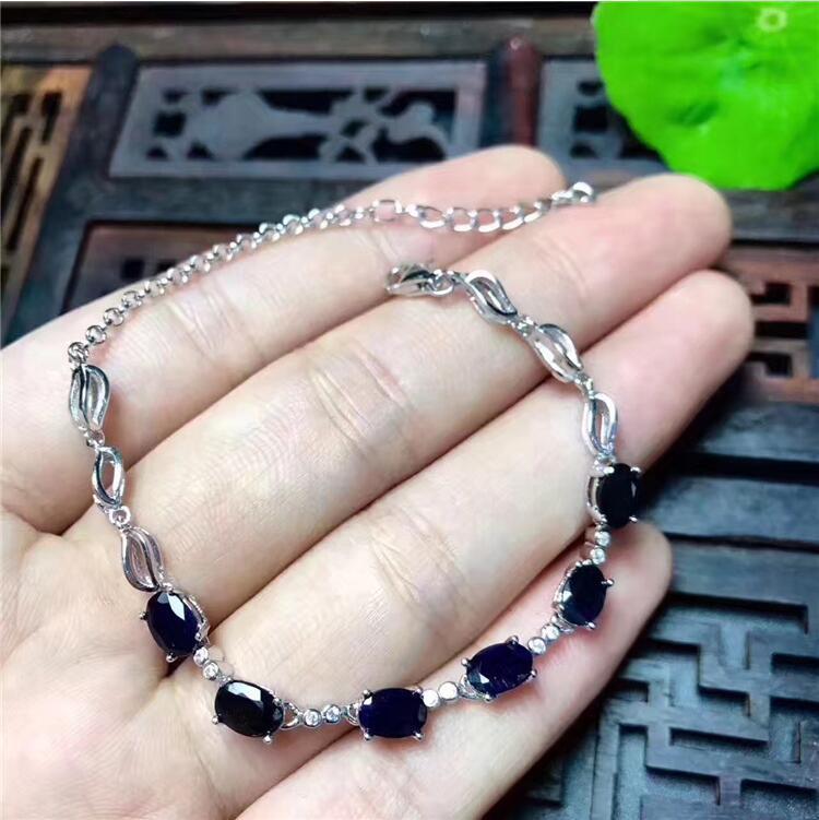 Natural sapphire chain bracelet Free shipping Natural original blue sapphire 925 sterling silver 4*6mm 6pcs ð±ñ€ñŽðºð¸ baon baon ba007ewtvi29