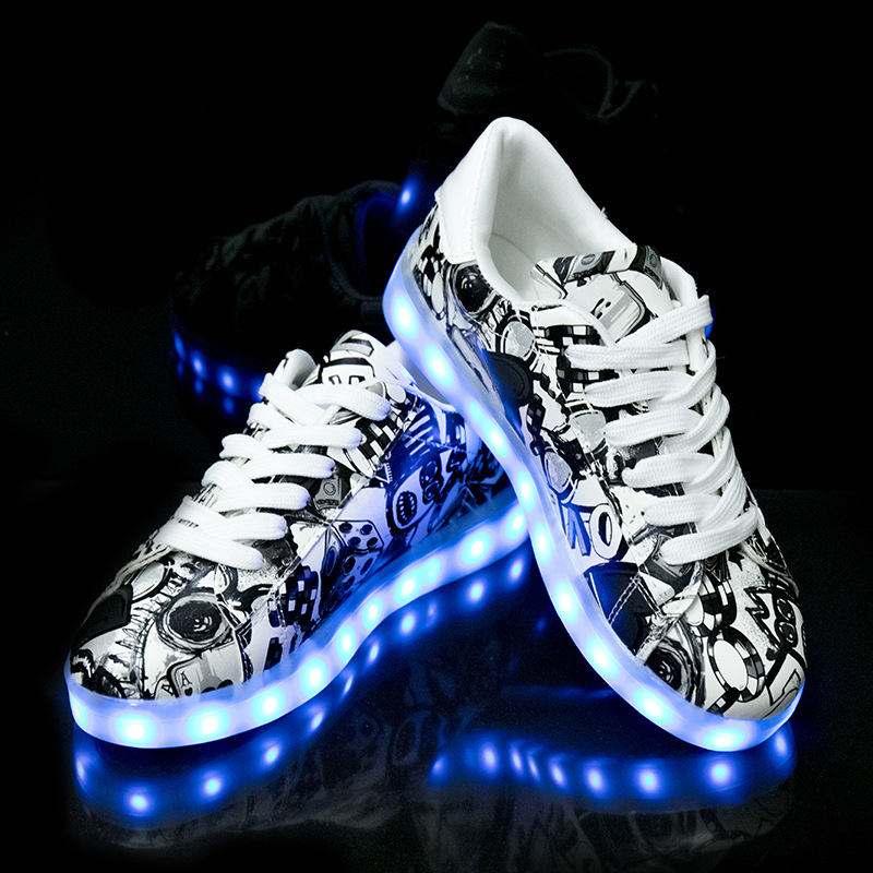 Image 5 - Size 27 42 LED Shoes Luminous Sneakers Light Shoes Glowing Sneakers with Luminous Sole Basket for Boys&Girls Kids Feminino TenisSneakers   -