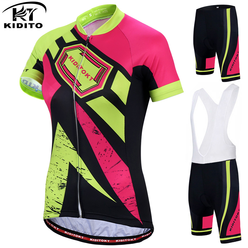 KIDITOKT Pro Women's Cycling Jersey Set Road Bike Wear Cycling Clothes Suit Breathable Mountain Bicycle Cycling Clothing Suit Cycling Sets     - title=
