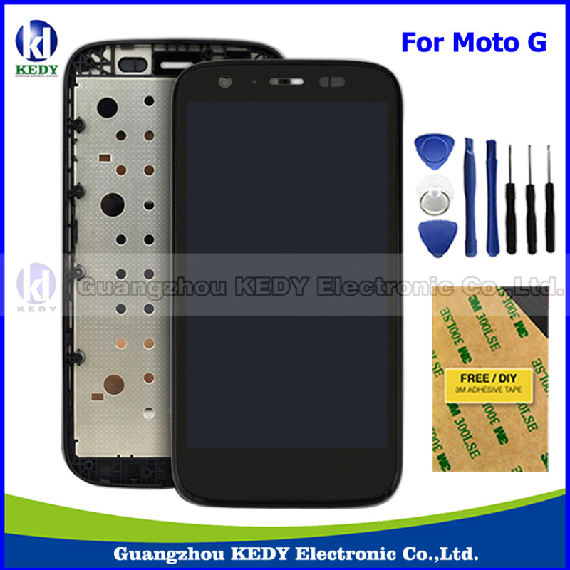 100%Original LCD Complete for Motorola MOTO G XT1032 XT1033 LCD Display Touch Screen Digitizer with Frame Assembly + Tools new original lcd replacements for motorola moto g xt1032 xt1033 lcd display touch digitizer screen with frame assembly tools