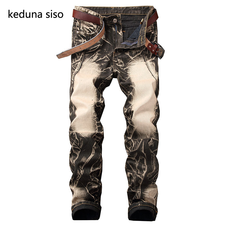 Men Biker Jeans Pants Solid Pleated Slim Motorcycle Pants Full Length Trousers Summer Splicing Light Denim Straight
