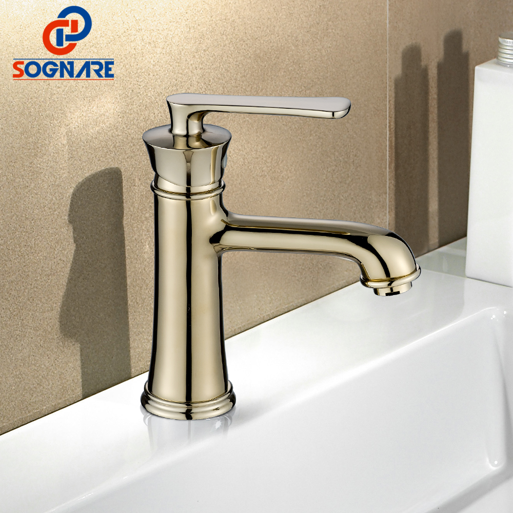 SOGNARE Bathroom Faucet Brass Made Chrome/Gold Faucet Sink Mixer Tap Vanity Faucet Single Handle Hot and Cold Basin Faucets B101 hpb square brass basin faucet hot and cold water single hole handle sink bathroom faucets mixer tap grifos para lavabos hp3037