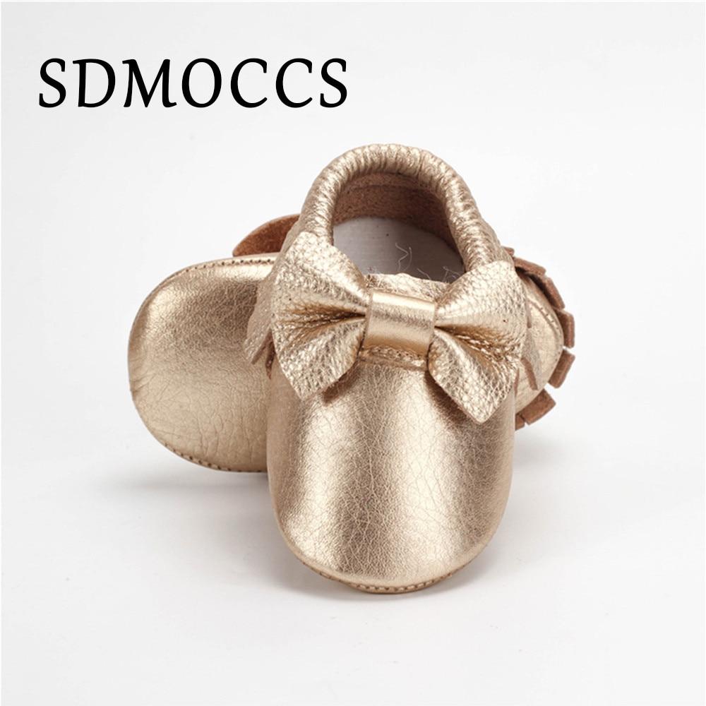 GOLD 18-24M Genuine Leather Newborn Baby Boy Girl Moccasins Soft Moccs Shoe Bebe Bow Soft Soled Non-slip Crib