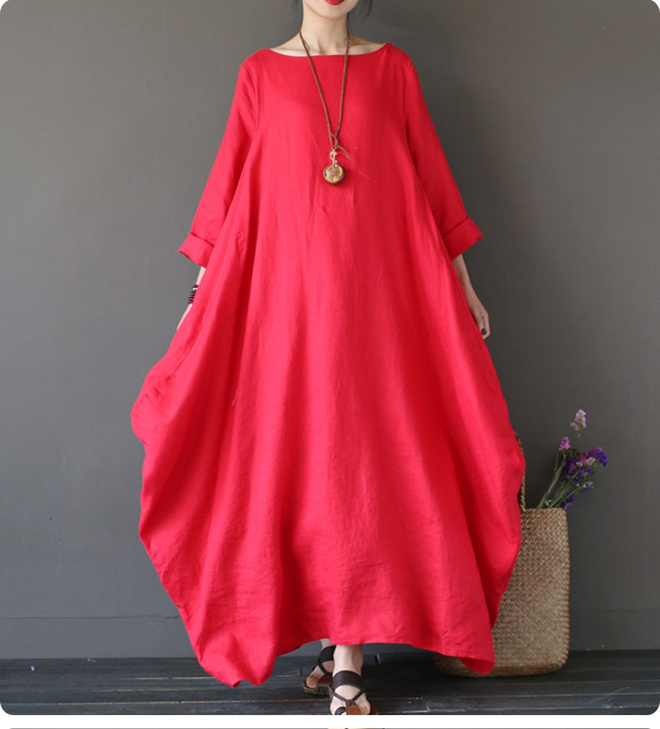 Kaftan Womens Maxi Dress Summer O Neck Long Sleeve Spring Cotton Linen Gown Robe Dresses Plus Size Large Size Dresses 15