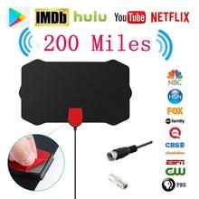 Indoor Digital 200 Miles HDTV Antenna Range Signal VHF UHF TV Receiver Radius Surf Fox Antena HD TV Antenna Aerial Coaxial Cable