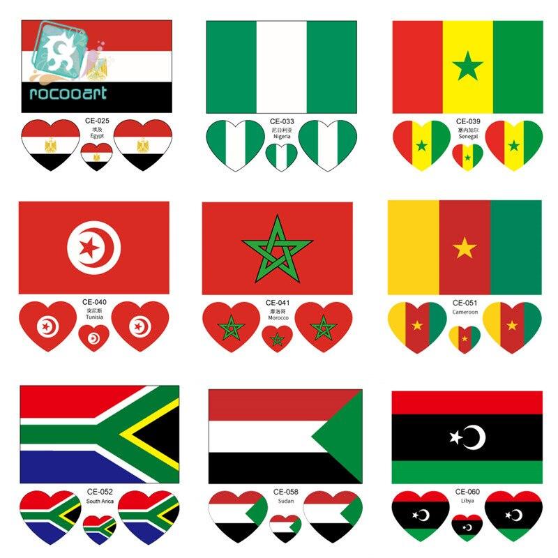 Latest Africa Flag Face Sticker World Cup Egypt Nigeria Angola Tunisia Morocco Sport Meeting Facial  Temporary Tattoo.