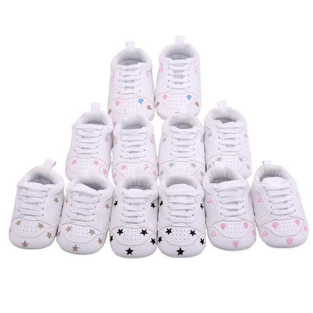 2019 Baby Shoes Newborn Boys Girls Heart Star Pattern First Walkers Kids Toddlers Lace Up PU Sneakers 0-18 Months 5