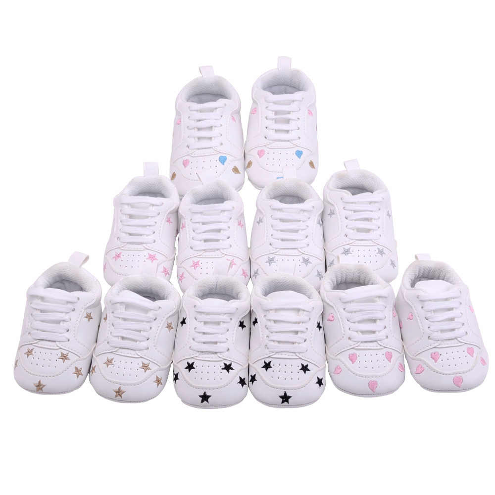 2019 Baby Shoes Newborn Boys Girls Heart Star Pattern First Walkers Kids Toddlers Lace Up Pu Sneakers 0 18 Months
