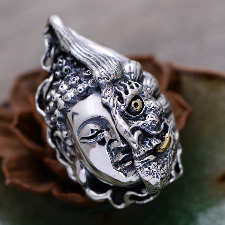 925 Sterling Silver Thai Vintage Pendant Thai Fine Jewelry Retro Men Male Ancient Buddha Demon Jewelry CH056975 925 sterling silver thai vintage pendant thai retro men male jewelry chian dragon bracelet ch059082
