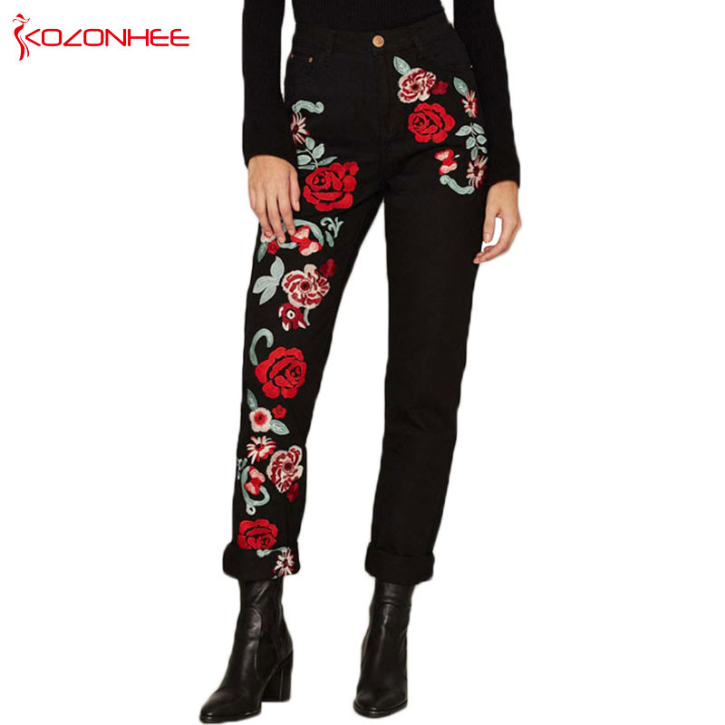 Women Black Straight High Waist Roses   Jeans   With Embroidery Plus Size Pencils Blue Denim Pants Casual Fashion   Jeans   For Girls