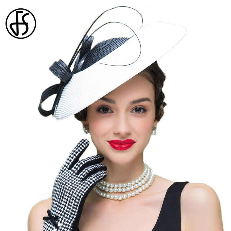 FS Fascinators Church Hats Women Elegant Lady Black And White Weddings Pillbox Hat Vintage Straw Fedoras Chapeau Femme Mariage