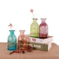 Мини DIY Стекло ваза офисной обстановкой Творческий гидропоники бутылки украшения дома прозрачный микро-пейзаж красочные ваза