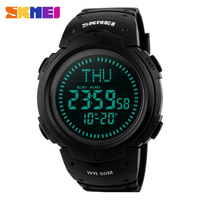 SKMEI Men Sports Compass Watches 5ATM Waterproof Digital Outdoor Military Watch EL Backlight Compass Countdown Wristwatches