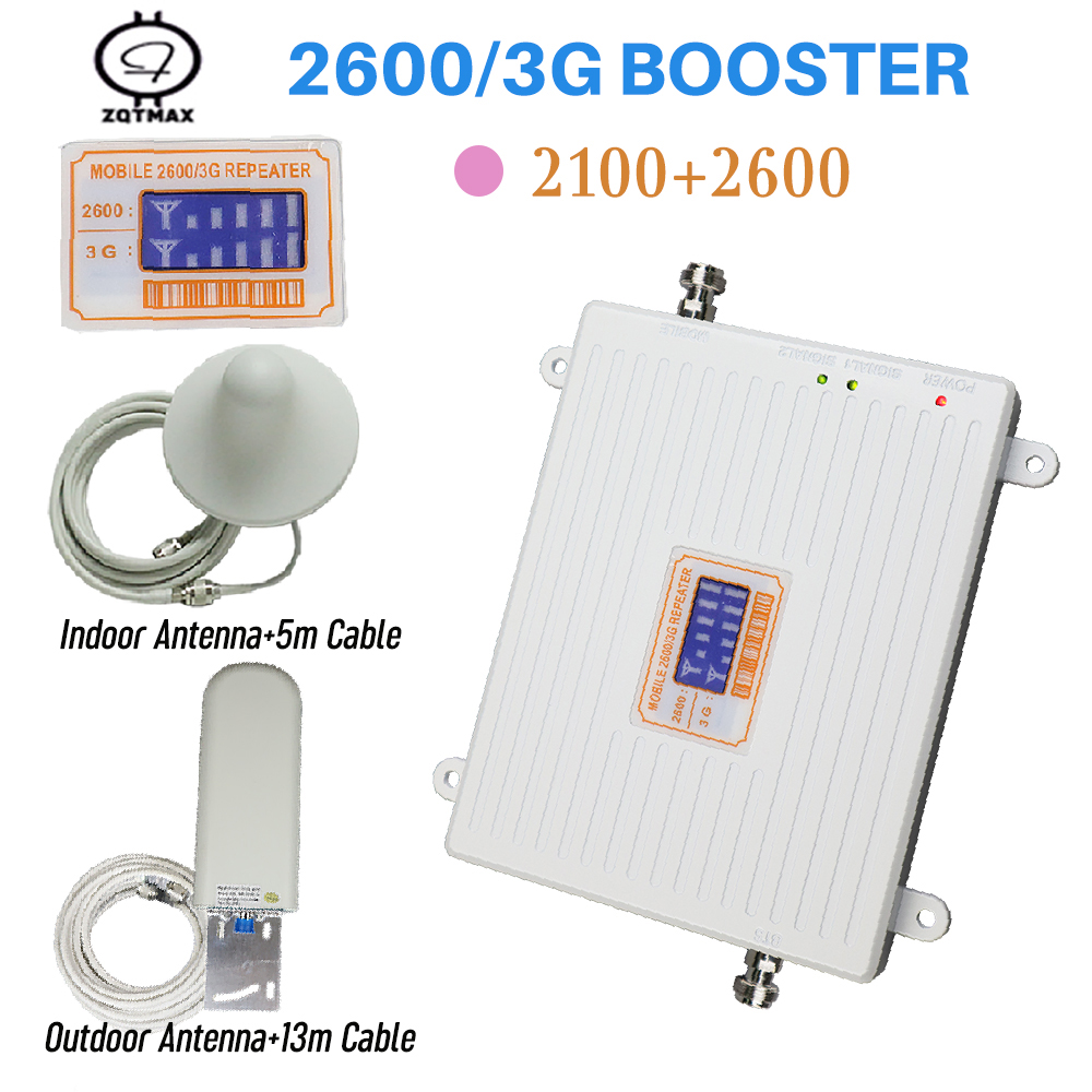Full Set 2100MHz Repeater 4g 2600 Booster Phone Signal Repetidor Amplifier With Indoor Outdoor Antenna Cellphone Signal Booster