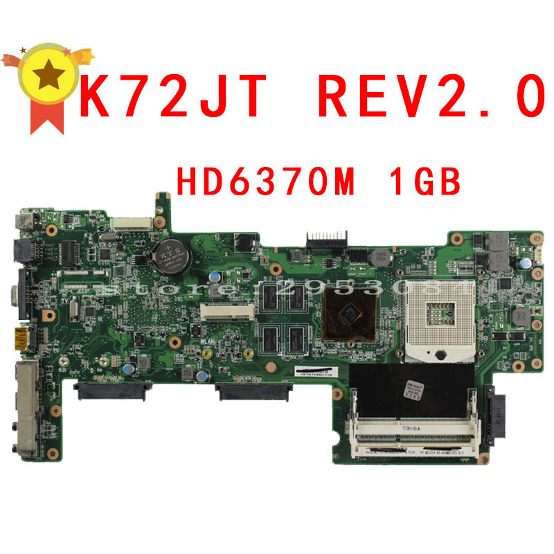 HOT selling K72JU K72JT laptop Motherboard for asus X72J mainboard HM55 HD6370M REV2.0 1GB DDR3 216-0774211 fully tested 100% brand new pbl80 la 7441p rev 2 0 mainboard for asus k93sv x93sv x93s laptop motherboard with nvidia gt540m n12p gs a1 video card
