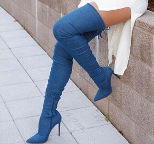 New Fashion Blue Denim Over Knee Bandage Boots Slim Style Thigh High Thin Heel Long Boots Sexy High Heel Boots
