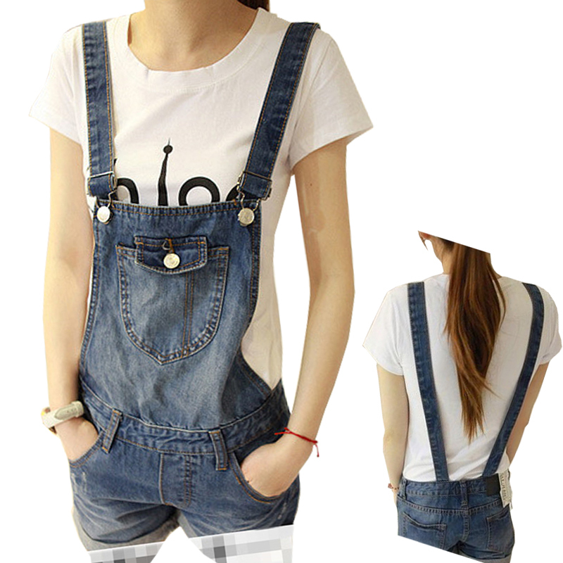 2015 Summer Denim Shorts Suspenders Female Loose Plus Size Maternity Clothing Jumpsuit Denim Bib Pants destroyed raw hem denim shorts