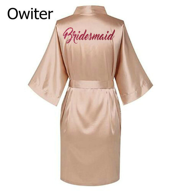 5497865a5a Personalised robe with hot pink glitter Women bride robe Silk Kimono  bridesmaid robe Bath satin robe AU
