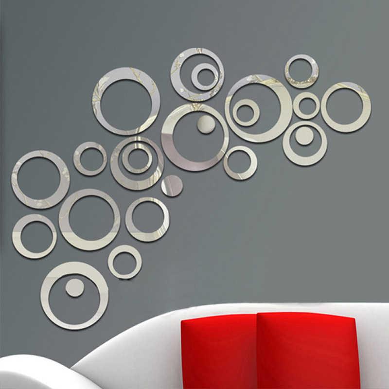 Yeni 24 adet/takım 3D DIY Daireler Duvar Sticker Dekorasyon Ayna duvar çıkartmaları TV Arka Plan Ev Dekor Akrilik Dekor Duvar Sanatı