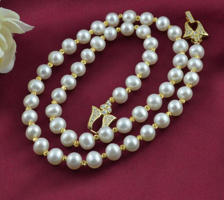 New 418+++8-9mm all-match natural pearl sweater chain pearl necklace vintage alloy artificial pearl sweater chain