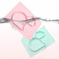 28*20cm Cute Baby Dishes Bowl Infant Feeding Plate Tray Food Dish Silicone Placemat For Baby Eating