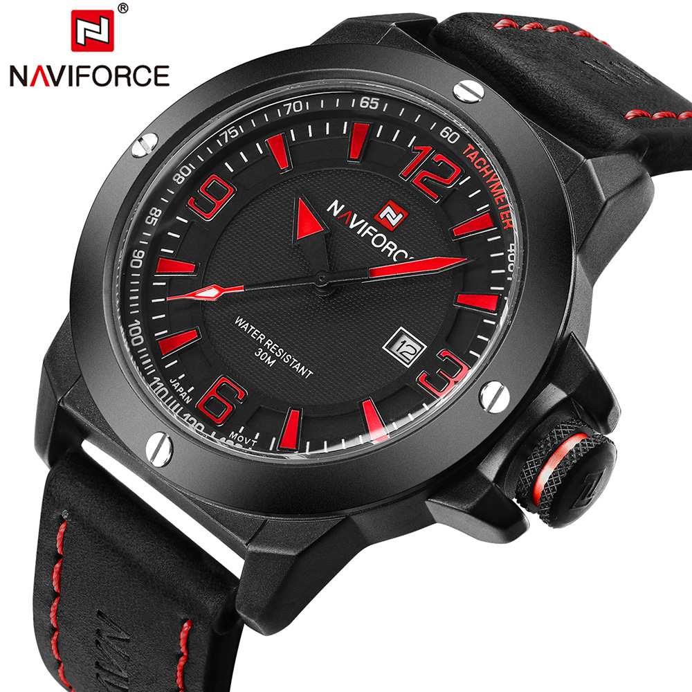TOP Luxury Brand NAVIFORCE Military Watches Men Quartz Analog Clock Man Leather Sports Watches Army Watch Relogios Masculino weide new men quartz casual watch army military sports watch waterproof back light men watches alarm clock multiple time zone
