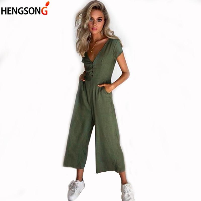 Sexy Deep V Neck Button Short Sleeve Summer Fashion Casual Soild Rompers Female New Women Wide Leg Jumpsuit Playsuit