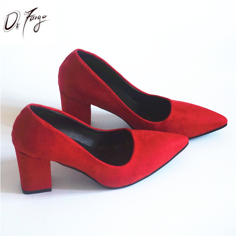 a63cb30eb2c US $11.81 34% OFF|DRFARGO Women's 7.5 cm Block Heel Sexy Pointed Toe Woman  Pumps Summer Spring EUR 34 39 Free shipping Wedding RED Mulher Zapato-in ...