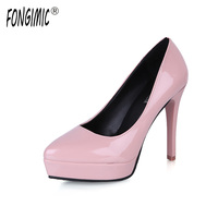 Fongimic Good Quality Women Pumps High Heels Slip On Female Shoes Solid Thin Heels Pointed Toe