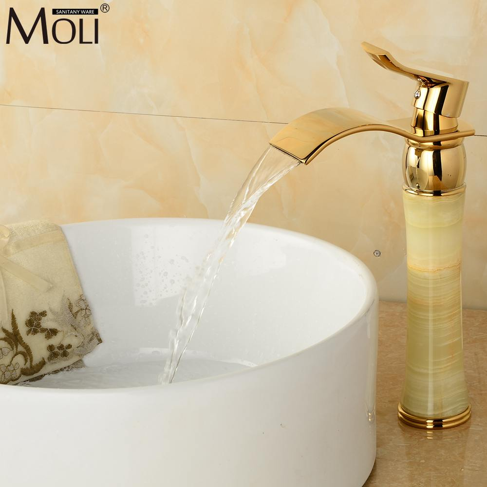 Luxury soild brass gold finish stone body bathroom faucet oil rubbed bronze jade cold&hot water tap waterfall torneiras mixer allen roth brinkley handsome oil rubbed bronze metal toothbrush holder