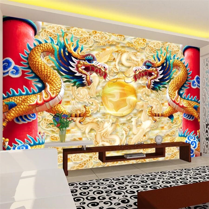 Us 885 41 Offbeibehang Custom Wallpaper 3d Mural Double Dragon Play Beads Chinese Dragon Tv Background Wall Decorative Painting 3d Wallpaper In